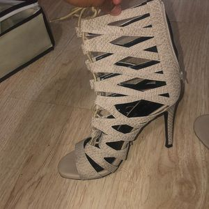 Lace up beige heels
